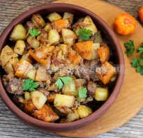Тыква тушеная с мясом и картофелем