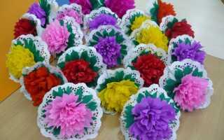 Цветы из гофрированной бумаги на палочке