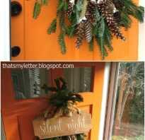Новогоднее украшение корзина с ветками елки