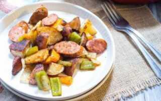 Картошка с сосисками в духовке без сыра
