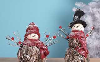 Снеговик из шишек мастер класс